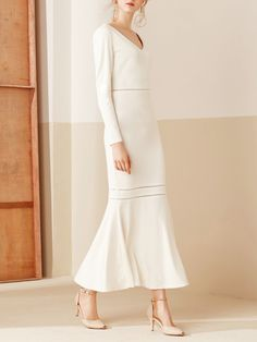 Shop Maxi Dresses - White Long Sleeve Mermaid Paneled V Neck Party Dress online. Discover unique designers fashion at StyleWe.com.
