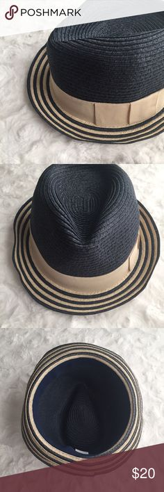 Woven Fedora Navy blue straw fedora with tan-striped brim and matching ribbon stylishly grants you shade so you can enjoy the view under the sun! ModCloth Accessories Hats