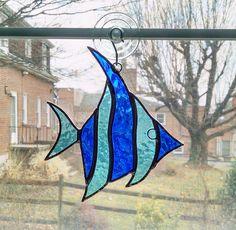 Stained Glass Fish Suncatcher - Angel Fish - Fish Ornament - Blue Glass Fish - Nautical Decor - Beach Decor - Coastal Decor - Sea Creature by StainedGlassYourWay on Etsy