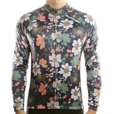 Retro Flowers Men Long Sleeve Thermal Cycling Jersey  eb0806625