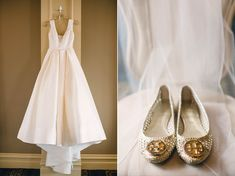Shoes: woven gold Tory Burch flats | Wedding Dress: V neckline silk ballgown. Langham by Anne Barge
