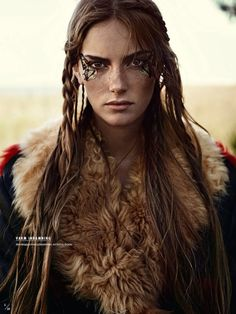 """f Ranger Leather Cloak portrait midlvl Stina Olsson in """"Naturbarn"""" for Elle Sweden, November 2014 Photographed by: Eric Josjo Celtic Warriors, Female Warriors, Maquillage Halloween, Halloween Makeup, Warrior Princess, Poses, Female Characters, Redheads, Character Inspiration"""