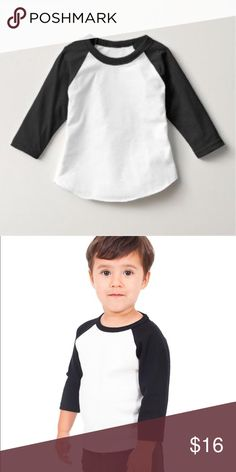 NWOT American Apparel Kids Raglan Shirt Brand New Without Tags, ultra soft Kids Poly Cotton 3/4 Sleeve Raglan in Black and White American Apparel Shirts & Tops Tees - Long Sleeve