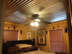 Barn tin ceiling that hubby put in..