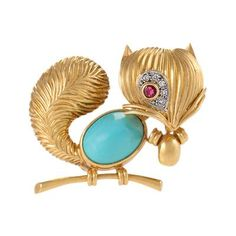 Mid-20th Century Turquoise, Ruby, Diamond and Gold Squirrel Brooch by   Van Cleef & Arpels