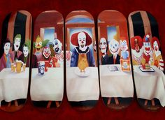 Like a nightmare of steven king's brought to life across five skateboards. A re-imaging of the classical last supper, all of the clowns stare at the audience for added creepy bonuses as the white linen table is adored with brands and beer and live chicks to be eaten for subliminal advertising.