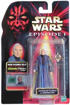 STAR WARS : Costumes and Toys : Star Wars Action Figure - Chancellor Valorum with Ceremonial Staff - Episode 1 - with CommTech Chip