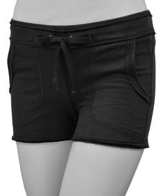 Look what I found on #zulily! Black Raw Edge Pocket Yoga Shorts by TROO #zulilyfinds