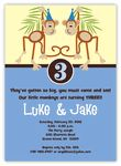 Little Monkeys Boy Twins Birthday Invitation