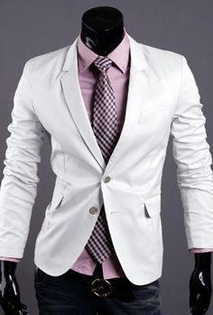 Blazer casual masculina branco -frete grátis- OF2353