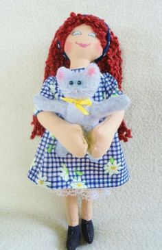 Girl Doll With Kitty by JoellesDolls for $35.00