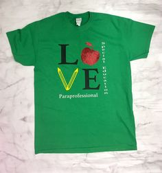 LOVE teacher shirt Paraprofessional Shirt by RedRoofCreation