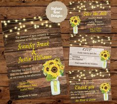 Rustic Sunflower and Wood Wedding by StefanieRoseDesigns on Etsy
