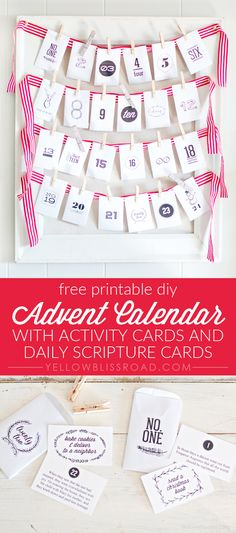 Printable DIY Advent Calendar with Activity Cards and Scripture Cards