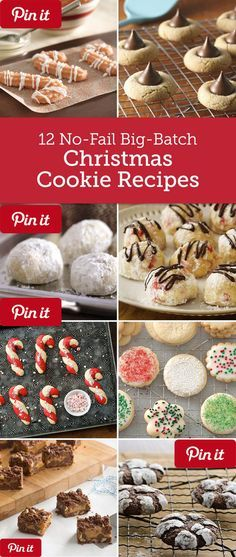 12 No-Fail Big-Batch Christmas Cookie Recipes - Making Christmas cookies for a crowd or hosting a holiday cookie exchange? These easy big-batch recipes mean more cookies and less work! Holiday Cookie Recipes, Holiday Desserts, Holiday Baking, Holiday Treats, Holiday Foods, Christmas Deserts, Noel Christmas, Christmas Parties, Christmas Recipes