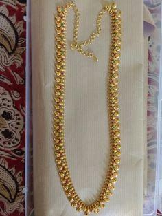 Maanga Haaram with ruby n emerald 24k Gold Jewelry, Gold Temple Jewellery, Gold Jewelry Simple, Gold Wedding Jewelry, Gold Jewellery Design, Bridal Jewelry, Gold Necklace, Gold Chain Design, Beaded Necklace Patterns