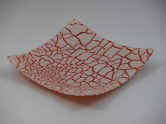 Fused Glass Dish Red and Cream Crackle Design by glassintrigues, $30.00