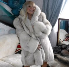 White Silver Blue Fox Fur Coat with Hood L XL Gorgeous Unisex | eBay