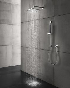 Modern shower systems in polished or brushed finish Modern Shower, Modern Bathroom, Pool Bathroom, Bathroom Grey, Bathroom Hardware, Concrete Shower, Concrete Walls, Bathroom Wall Panels, Wall Tiles