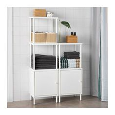 DYNAN Shelving unit with 2 cabinets, white white 15 3/4x10 5/8x36 1/4-52
