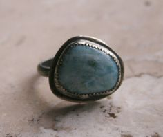 Larimar Oxidized Sterling Silver Ring.  Rare stone found in the Dominican Republic.  Lovely blue color, reminds me of the Caribbean.