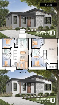 Affordable Modern house plan, finished basement (total 4 beds), 2 family rooms, walk-in pantry # 3149 # MIDCENTURY Sims House Plans, Small House Plans, House Floor Plans, Tiny Home Floor Plans, Small House Design, Modern House Design, Midcentury Modern House Plans, Modern Bungalow House Plans, Drummond House Plans