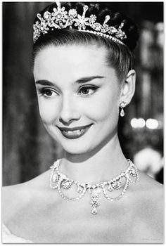 Audrey Hepburn film, princess, wedding tiaras, dress, crown, audrey hepburn, poster, actress, roman holiday