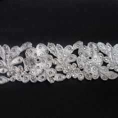 Silver Trim hand embroidered with diamonte by ColourCocoon on Etsy, $15.60
