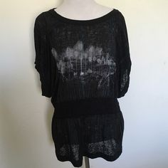 Free People Bicycle Printed Burnout Tee Free People black bicycle scene print burnout tee with dolman sleeves. Super cute and comfy. Elastic at waist. Very easy to wear. Good pre loved condition. Size M. ❌ NO TRADES ❌ NO LOWBALLING ❌ Free People Tops Tees - Short Sleeve