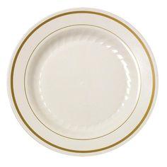 "Fineline Gold Splendor 509BN Bone White 9"" Plastic Plate with Gold Bands - 120 / Case"