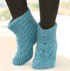 crochet.  These are SO mega cute for house slippers!!!