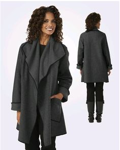 The Boulder coat will surround you in comfort and style, from country to city. This washable heather, faux felted wool coat features a wing collar and an open cascading front. Generous patch pockets and contrasting black stitching add that extra touch to this fashionable cover- up. Want to switch it up? Add your favorite belt and wear it closed.