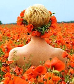 Boho short hair with poppy flower crown Toni Kami ⊱✿Flowers in her hair✿⊰ Poppy field pretty photography