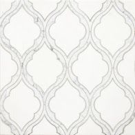 Coming Soon!!!    Delicate Gothic Design The Mystique collection, from Country Floors, draws upon history and tradition to project richness, opulence, and otherworldly elegance. The tiles in this collection, are reminiscent of a gothic Mediterranean designs. The Mystique Collection tiles ranges in shades of white, mute grey and silver, featuring different geometric patterns. The tiles are available in the standard eight by eight (8 x 8) size. Tile feature: Helena