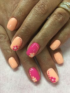 Peach & bright Pink Flower Summer Gel Nails