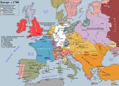 Map of Europe circa 1750