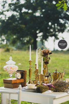 Vintage table setup. Vintage brass vases