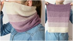 Beautiful crochet cowl with ombre effect. Crochet free pattern uses simple stitch called the Moss Stitch which is combination of the chain stitches, the single crochet stitches and slip stitches.