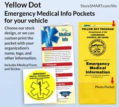 Yellow Dot Standard Pocket W Sticker Custom Print Emergency
