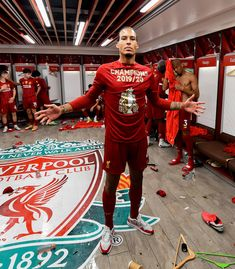 Dressing room photos: Champions celebrate Premier League glory Liverpool Premier League, Premier League Champions, Liverpool Football Club, Liverpool Fc Wallpaper, Liverpool Wallpapers, Room Photo, Liverpool Anfield, This Is Anfield, Virgil Van Dijk