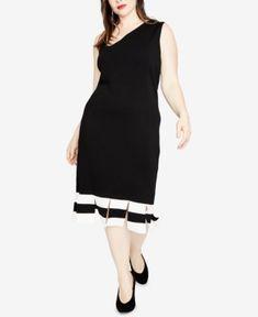 Rachel Rachel Roy Trendy Plus Size Carwash-Hem Sweater Dress, Created for Macy's - Black Plus Size Sweater Dress, Plus Size Sweaters, Rachel Roy, Review Dresses, Trendy Plus Size, Striped Dress, Plus Size Dresses, Clothes, Shopping