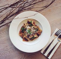 Pasta time ! Pappardelle with boletus and parsley.   @ Dune Restaurant Cafe Lounge in Mielno