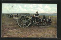 old postcard: AK Soldaten der Artillerie in Uniform an einem Geschütz in Feuerstellung