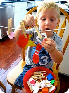 Great kid activity - finger strengthening, coordination, challenge them to generate a pattern sequence
