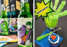 Superheroes vs. Villains Halloween party theme. That's not green rock candy – it's definitely Kryptonite. It's all how you sell it. #partyideas #Halloween #OrangeTuesday