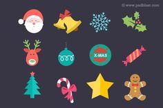 12 Flat Christmas Icon set