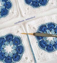 Crochet Baby Blanket - Crochet Baby Afghan in Purple, Aqua,Ravelry: SharonBlignaut's Block a Week CAL 2014 - Salvabrani Baby Afghan Crochet, Crochet Quilt, Crochet Blocks, Crochet Motif, Crochet Yarn, Crochet Stitches, Crochet African Flowers, Crochet Flower Patterns, Afghan Crochet Patterns