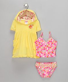 Take a look at this Yellow Cover-Up & Pink Polka Dot Tankini - Toddler by Swimsuit Station on #zulily today!