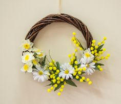 Spring wreath with mimosa and daffodils wreath by Ghirlandiamo