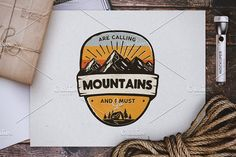 Mountains Calling Badge by JeksonGraphics on @creativemarket